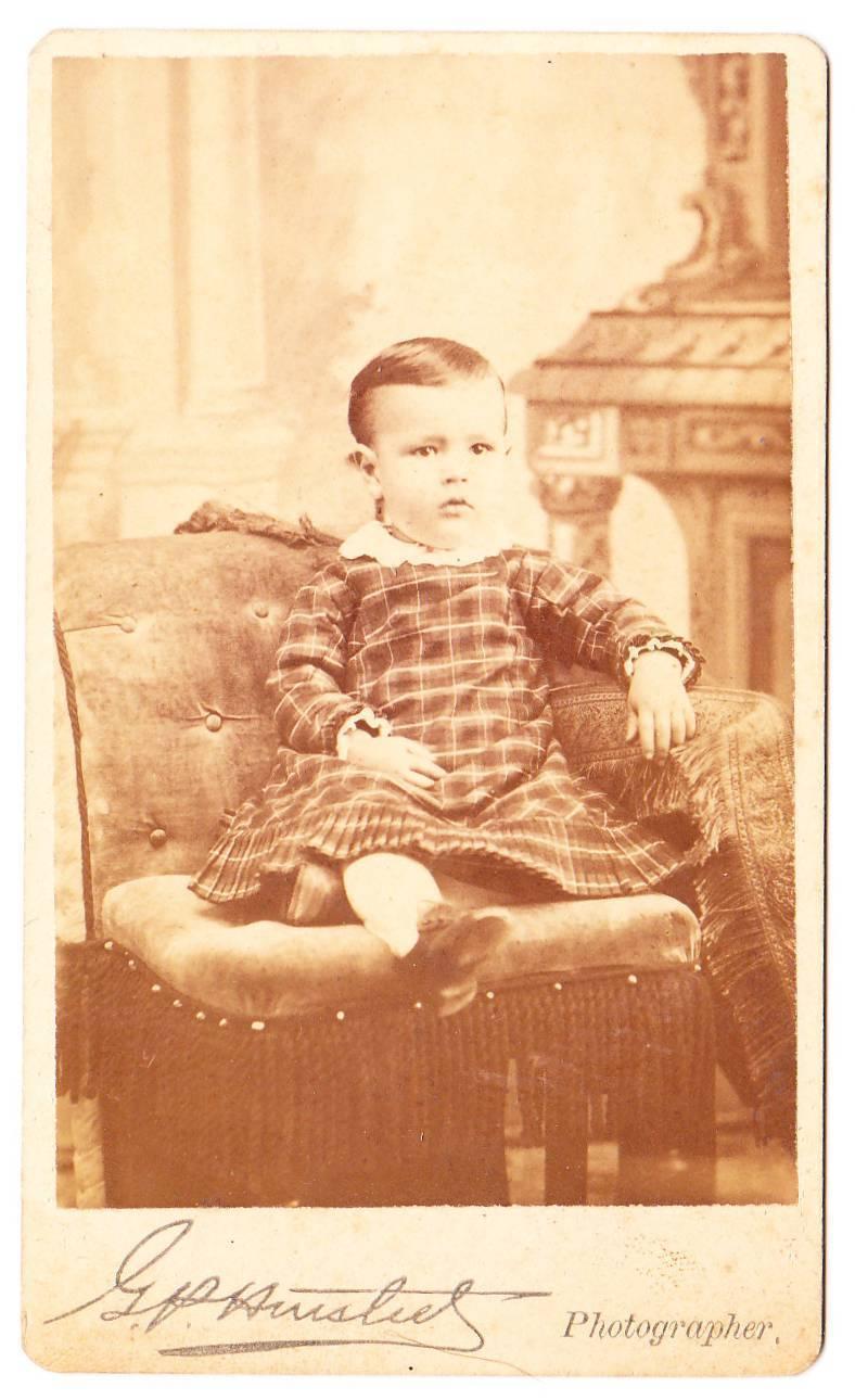 Cdv girl baby plaid dress fringe chair