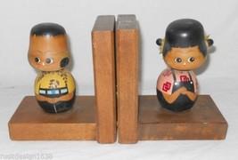 2 Vintage Japanese Bobblehead Bookends Kokeshi Boy Girl Handpainted Wood... - $19.75