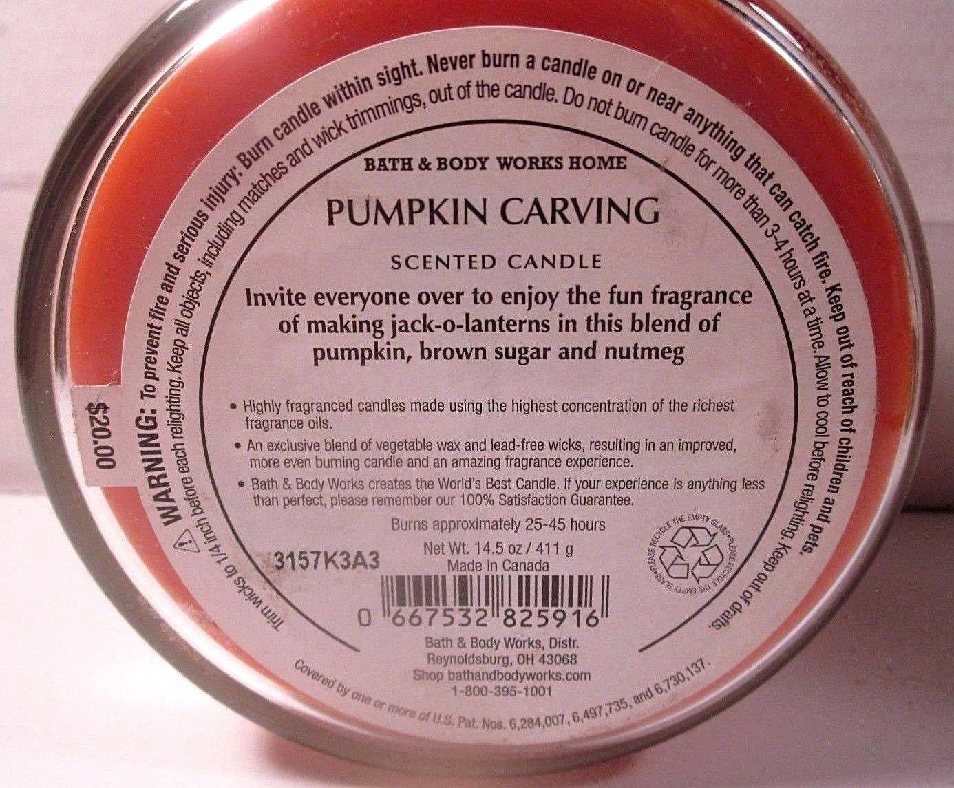 Bath & Body Works 3 wick 14.5 oz Candle jack-o-lanterns  Pumpkin Carving image 3