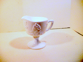 Milk Glass Vintage Open Creamer Pedestal Indiana Colony Harvest White  - $21.92