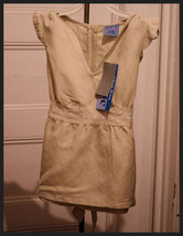 Girls Sz M 10/12 Top Babydoll Tan Embroidered Shirt Flutter Cap Sleeve N... - $4.89