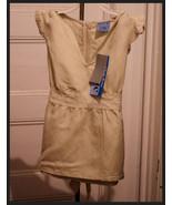 Girls Sz M 10/12 Top Babydoll Tan Embroidered Shirt Flutter Cap Sleeve N... - $4.89