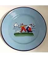 Hand Painted Enamel Metalware Plate Boy Girl Goose Czechoslovakia - $16.95