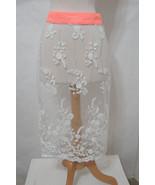 Vintage Skirt Embroidered Sheer White See thru Net NWOT M - £47.88 GBP