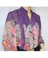 Boho Purple Blouse Paisley Print Coldwater Creek Sheer Size Medium - $19.00