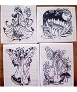 LOT of 4 MOUNTED RUBBER STAMPS-FAIRY SET - $32.40