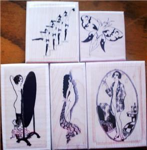 LOT OF 5 NEW MOUNTED RUBBER STAMPS-NUDE FRENCH LADIES