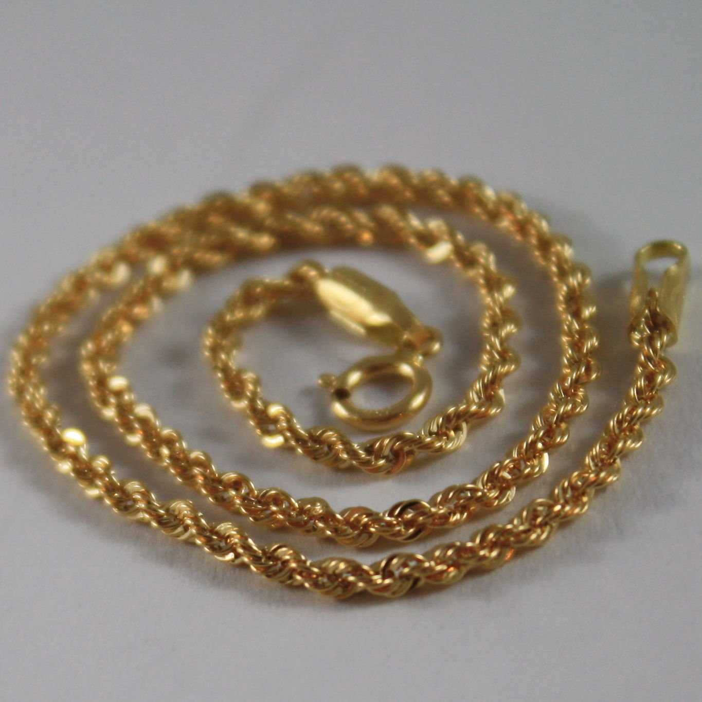 18K SOLID YELLOW GOLD BRACELET, BRAID ROPE 7.50 INCH LONG, MADE IN ITALY