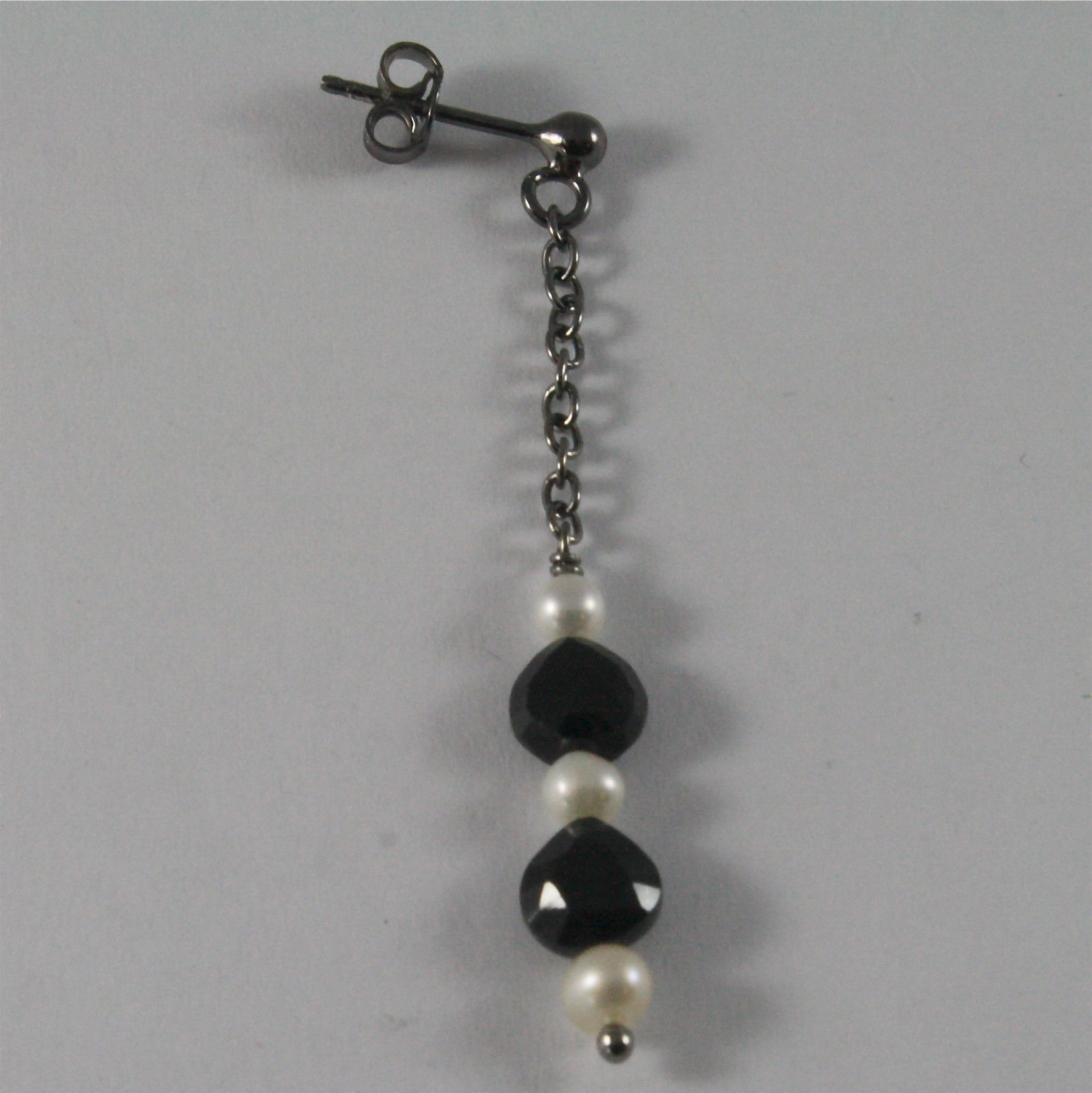 .925 BURNISHED SILVER EARRINGS WITH WHITE FW PEARLS AND BLACK SPINEL 1.97 INCH