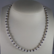 NECKLACE WITH WHITE PEARLS DIAM. 0,1 IN, BLUE IOLITE 18KT 750 WHITE GOLD... - $113.24