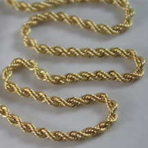 SOLID 18K YELLOW GOLD CHAIN NECKLACE, BRAID ROPE MESH 23.62 IN, MADE IN ITALY