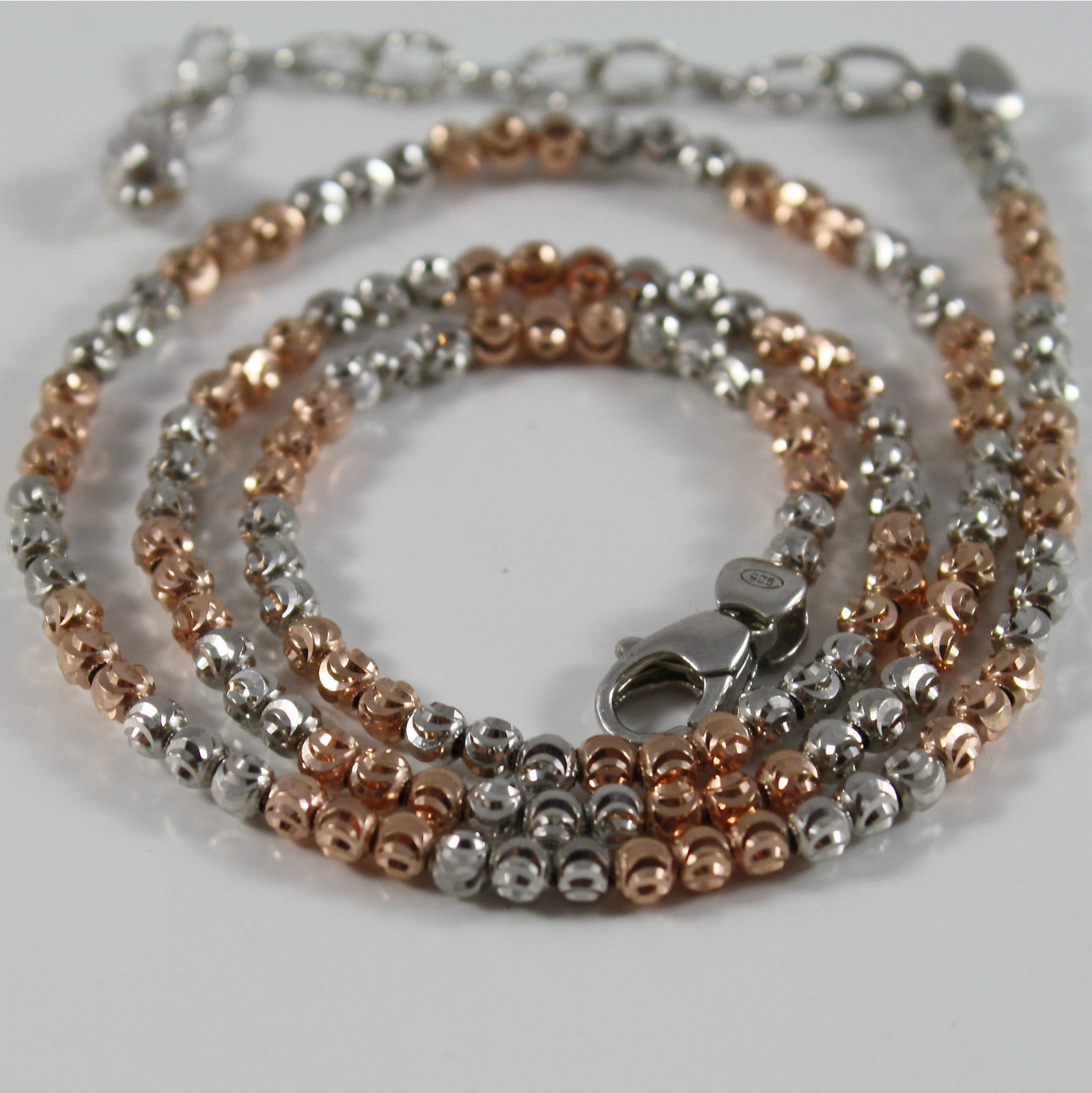 925 RODIUM SILVER NECKLACE OFFICINA BERNARDI FACETED BALLS MADE ITALY ROSE GOLD