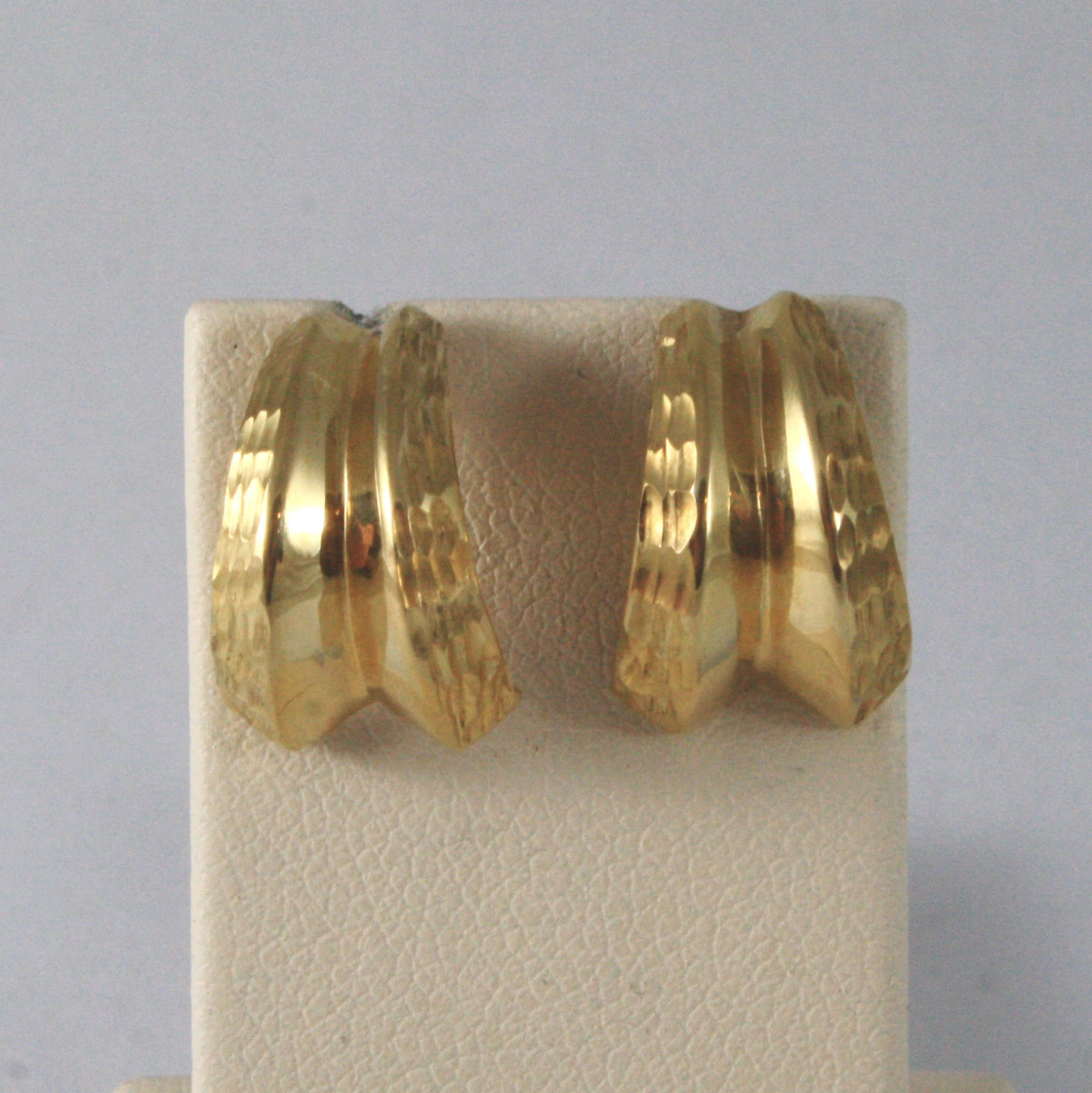 SOLID 18KT. YELLOW GOLD SEMICIRCLES WORKED EARRINGS MADE IN ITALY 18K