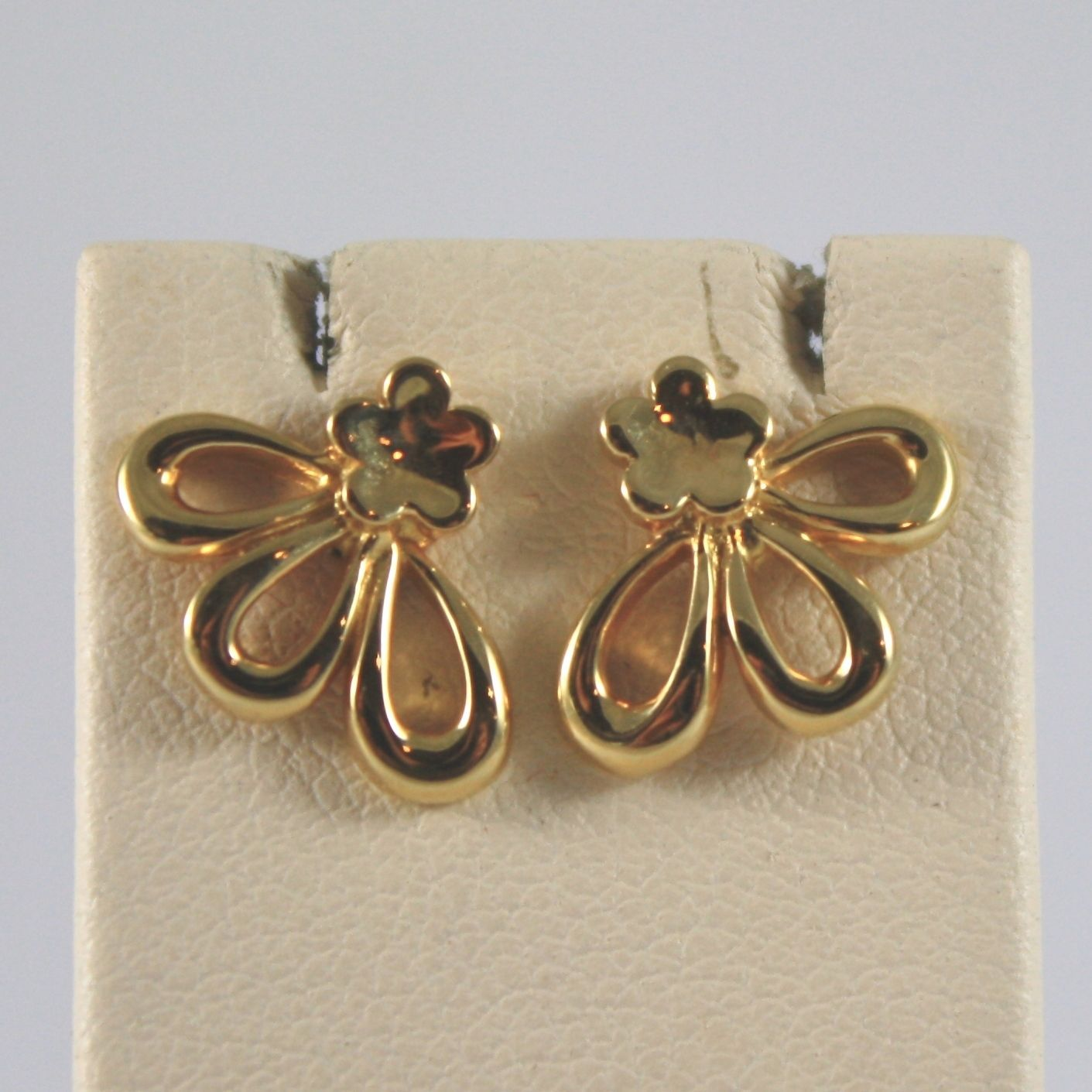 18K SOLID YELLOW GOLD  EARRINGS WITH FLOWER FLOWERS MADE IN ITALY 18K