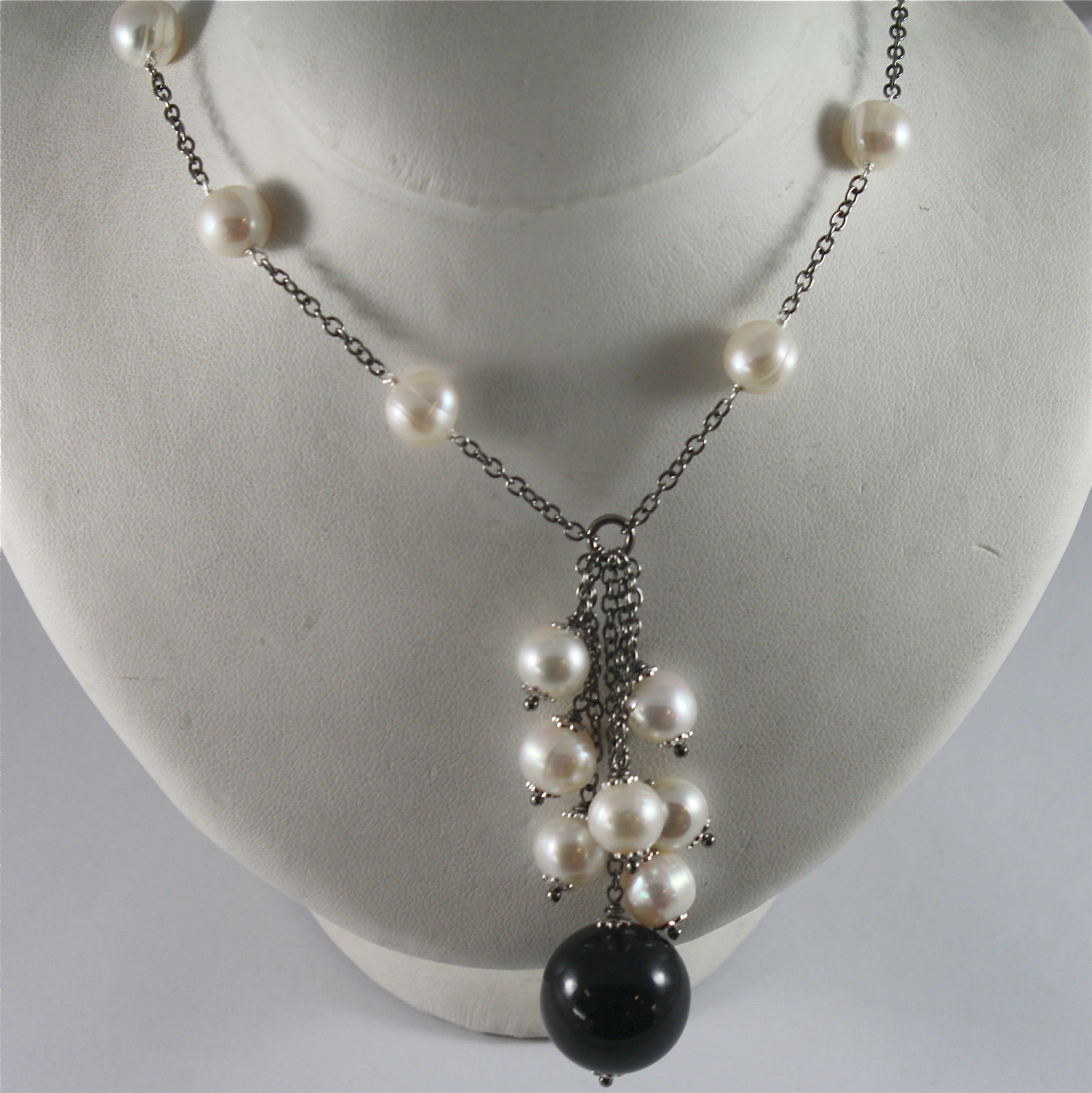 .925 BURNISHED SILVER NECKLACE WITH WHITE FW PEARLS AND BLACK ONYX 17.72 INCH