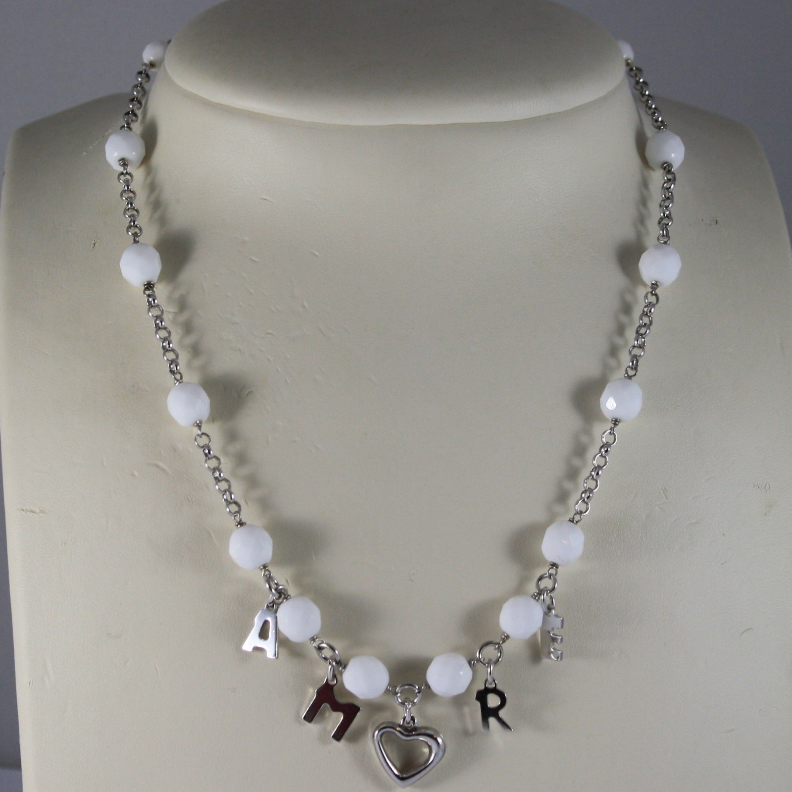 ".925 RHODIUM NECKLACE WITH WHITE AGATE AND WRITTEN "" AMORE"""