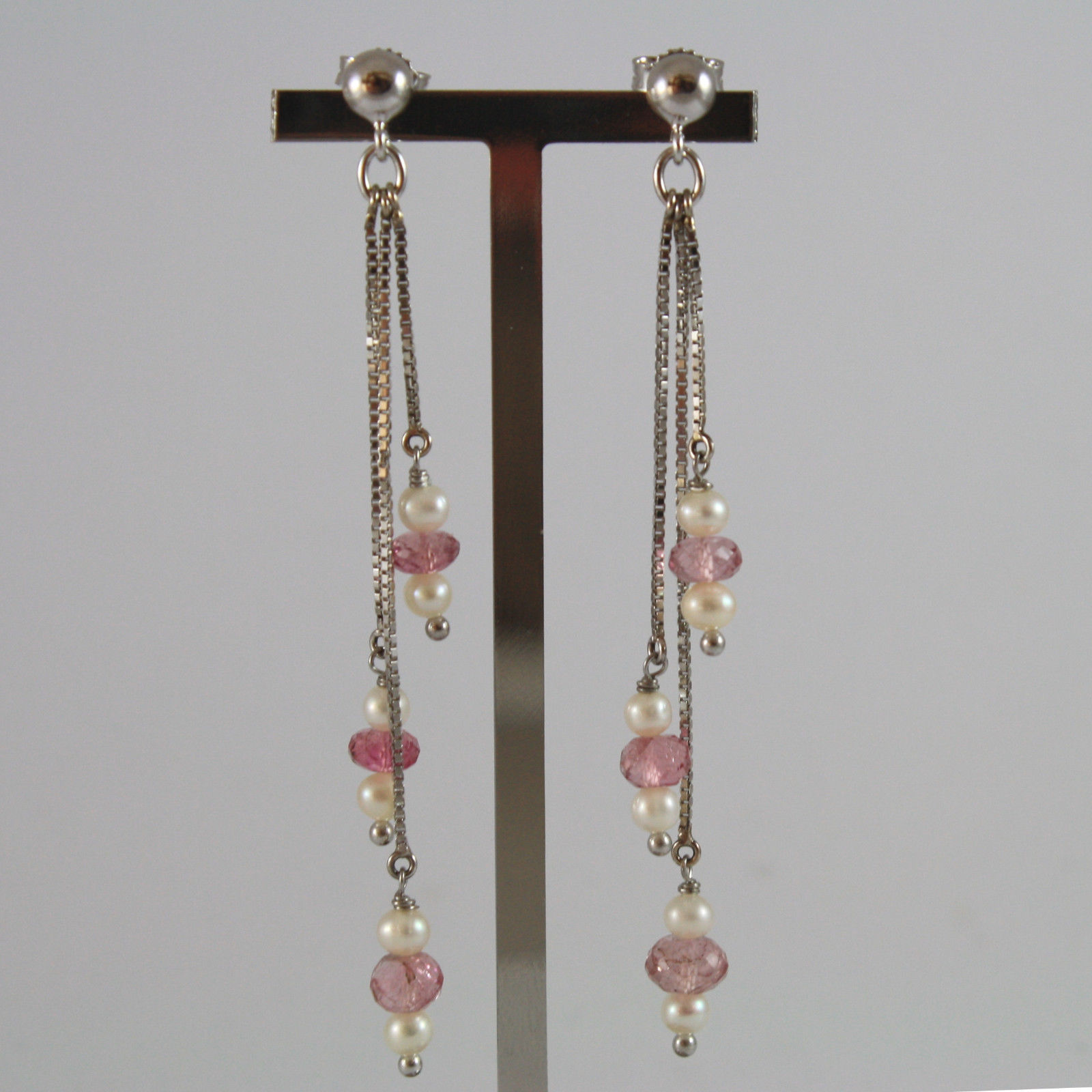 SOLID 18K WHITE GOLD PENDANT EARRINGS, WITH WHITE PEARLS AND PINK TOURMALINES