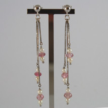SOLID 18K WHITE GOLD EARRINGS, WITH WHITE PEARLS AND PINK TOURMALINES,