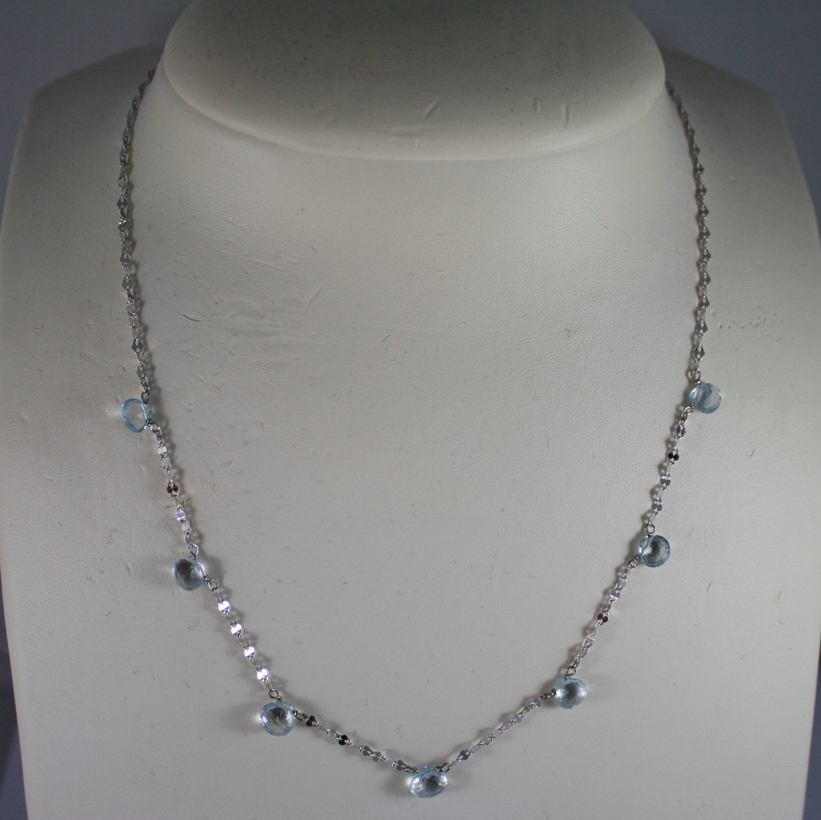 SOLID 18K WHITE GOLD NECKLACE WITH DROPS OF AQUAMARINE LENGTH 17,32 IN
