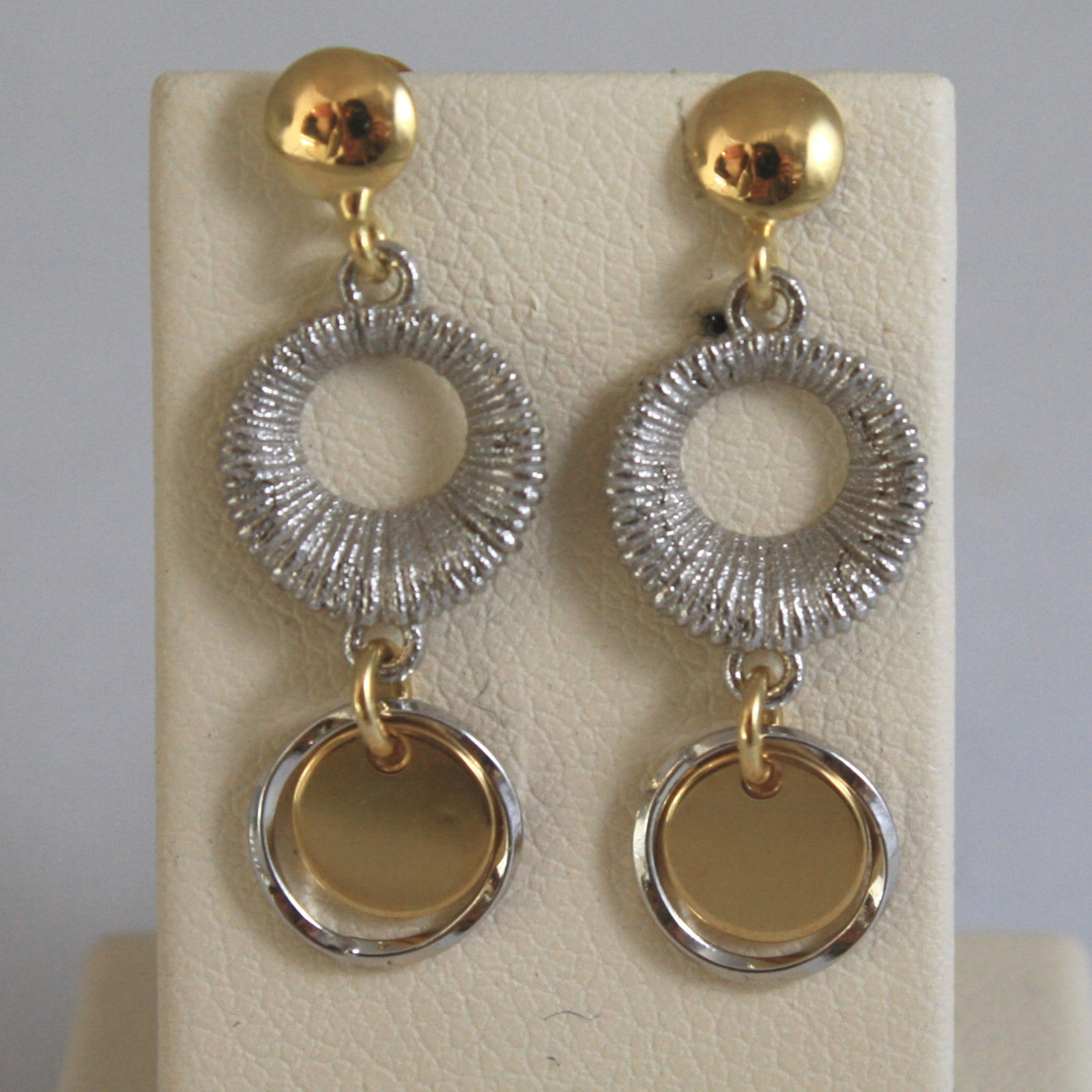 SOLID 18K YELLOW AND WHITE GOLD EARRINGS, WITH WHEELS, MADE IN ITALY