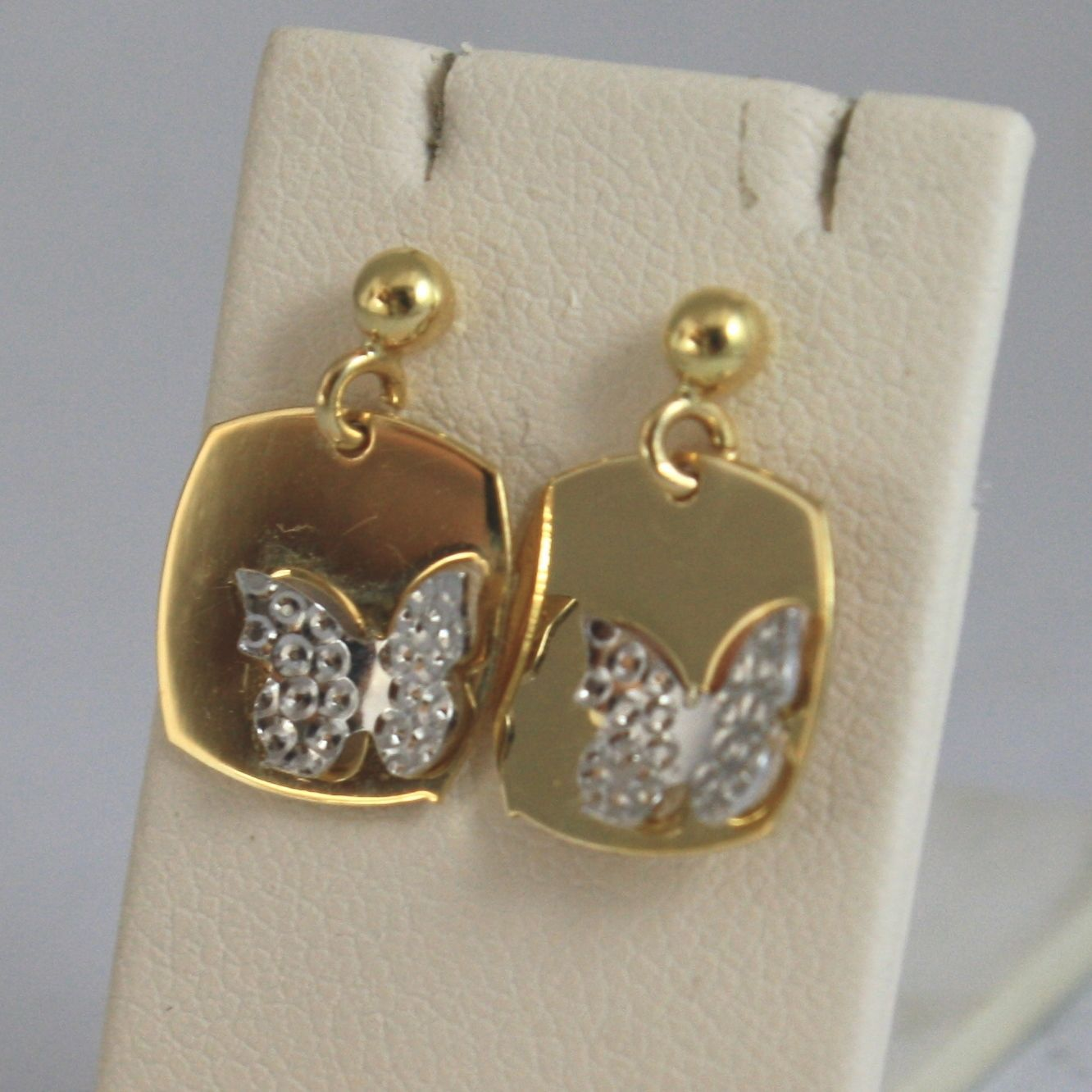 18K SOLID YELLOW AND WHITE GOLD EARRINGS WITH WORKED BUTTERFLY MADE IN ITALY 18K