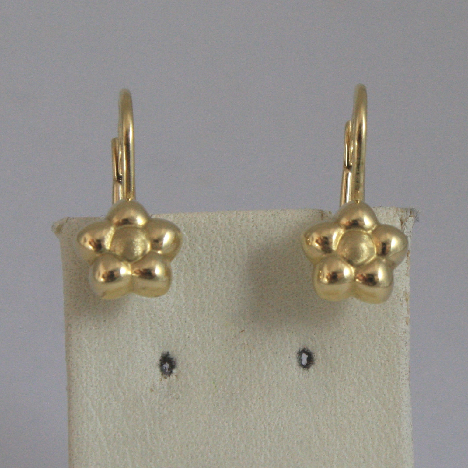 SOLID 18K YELLOW GOLD EARRINGS, WITH FLOWERS, LENGTH 0,63 IN, MADE IN ITALY