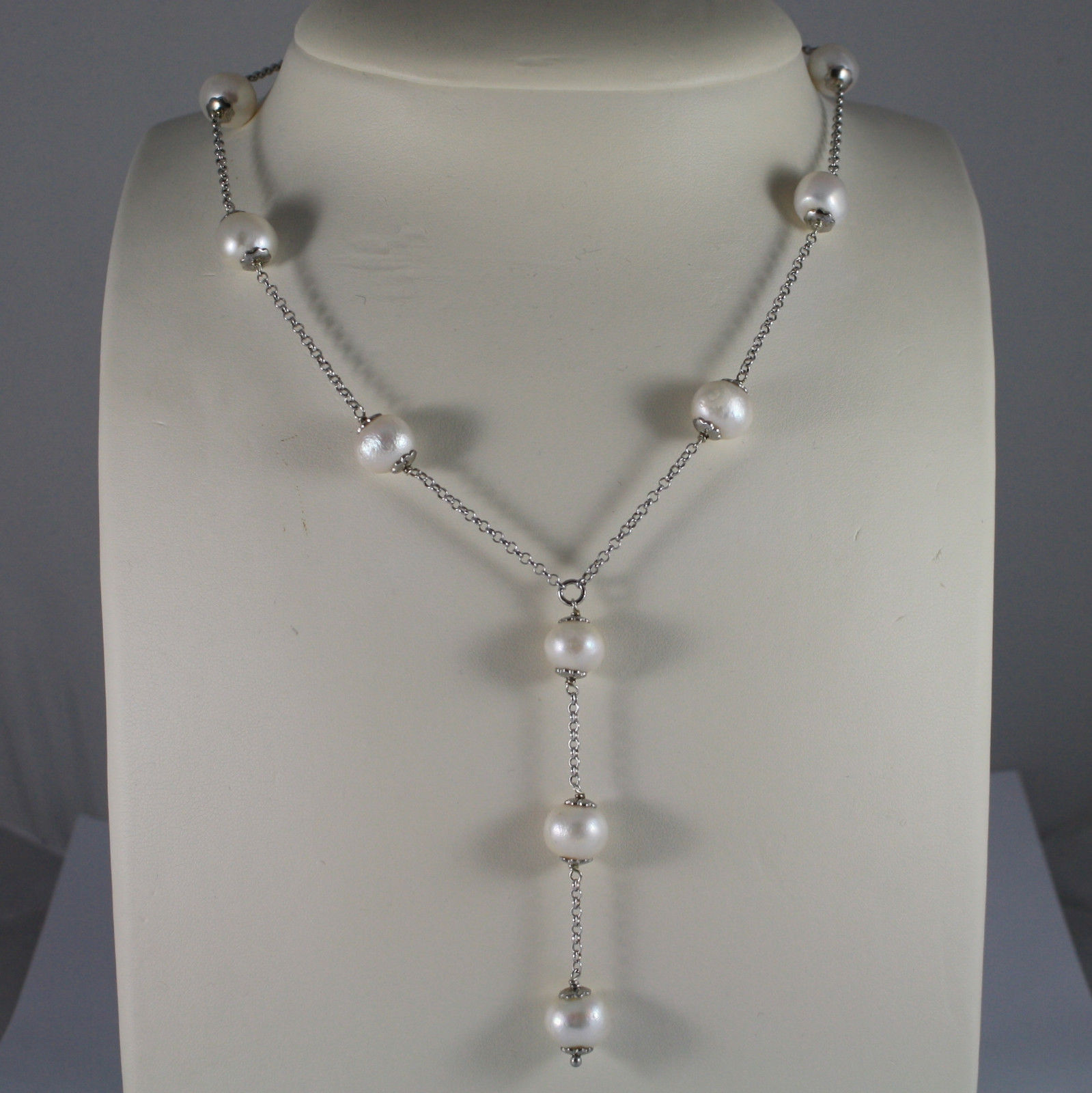 .925 SILVER RHODIUM NECKLACE WITH FRESHWATER WHITE PEARLS