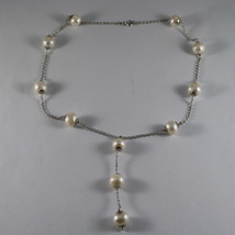 .925 SILVER RHODIUM NECKLACE WITH FRESHWATER WHITE PEARLS image 2