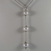 .925 SILVER RHODIUM NECKLACE WITH FRESHWATER WHITE PEARLS image 3