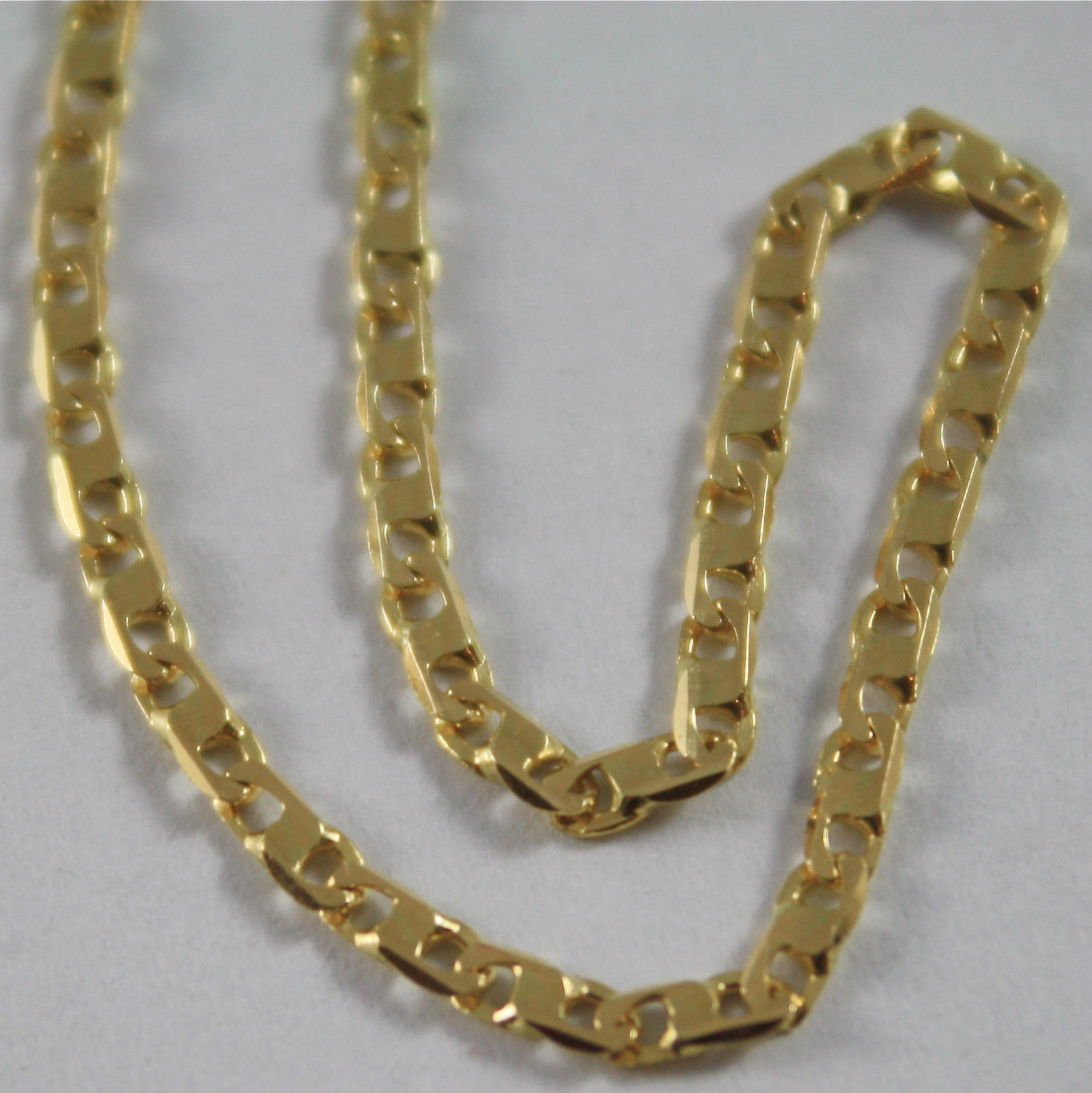 SOLID 18K YELLOW GOLD CHAIN NECKLACE WITH INFINITY MESH 19.68 IN. MADE IN ITALY