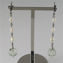 .925 BURNISHED SILVER EARRINGS WITH WHITE FW PEARLS AND PRASIOLITE 2.76 INCH