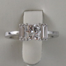 SOLID 18K WHITE GOLD TRILOGY RING, DIAMONDS PRINCESS BAGUETTE CUT, MADE IN ITALY