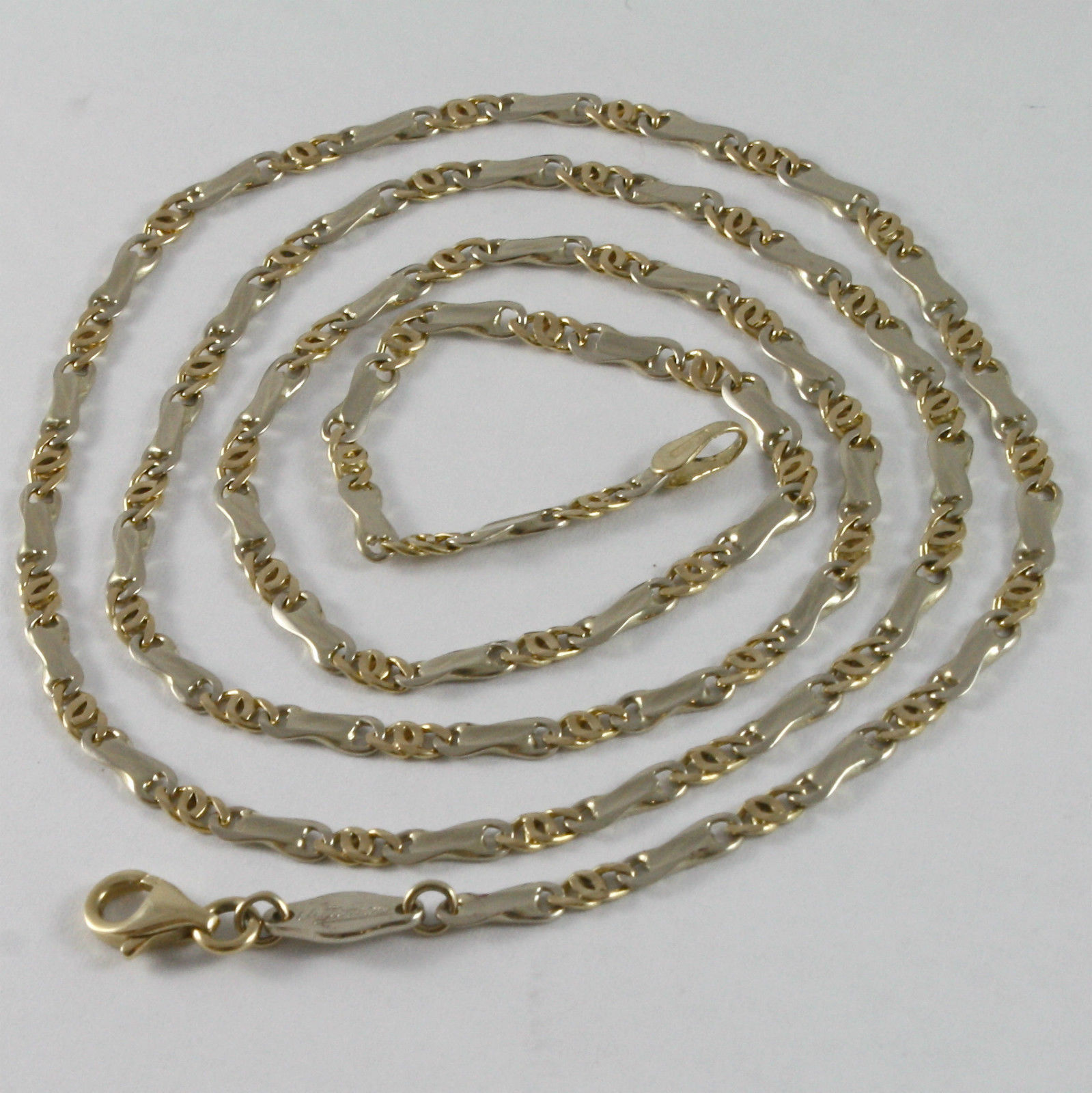 MASSIVE SOLID 18K YELLOW & WHITE GOLD CHAIN WITH ALTERNATE LINK MADE IN ITALY