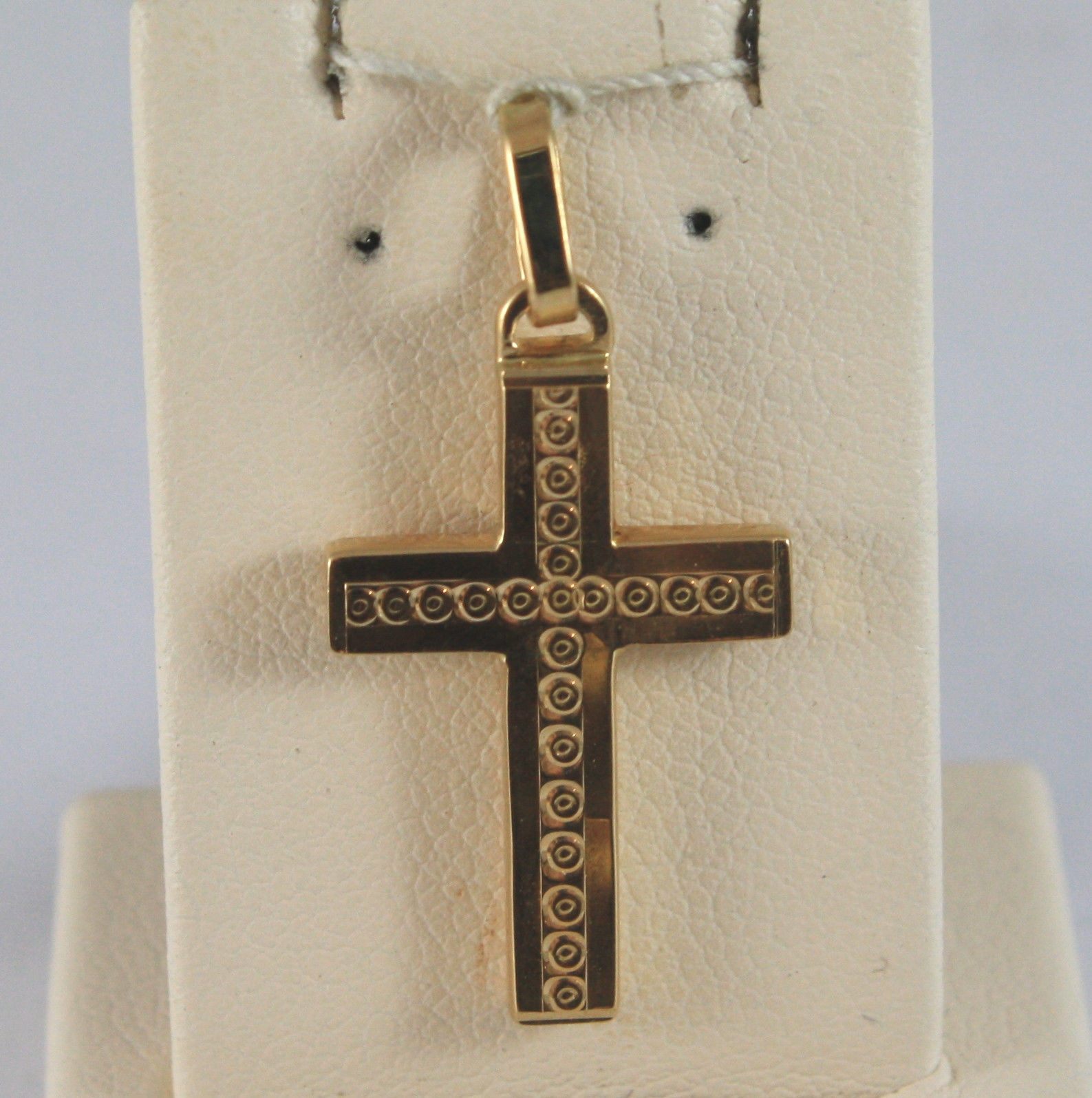 SOLID 18K YELLOW GOLD, WORKED CROSS PENDANT LENGTH 1,1 IN, MADE IN ITALY