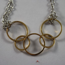 .925 RHODIUM SILVER AND YELLOW GOLD PLATED BRACELET WITH CIRCLES image 2