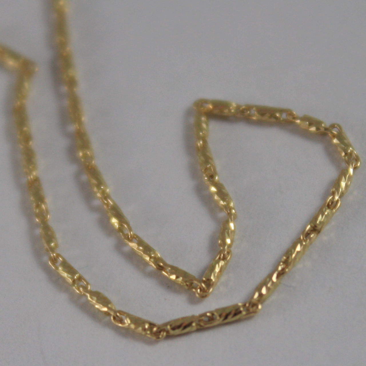 SOLID 18K YELLOW GOLD CHAIN NECKLACE, TUBE FACETED MESH 15.75 IN. MADE IN ITALY
