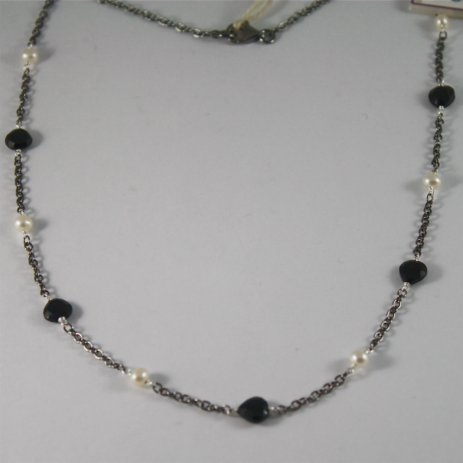 .925 BURNISHED SILVER NECKLACE WITH WHITE FW PEARLS AND BLACK SPINEL 17.72 INCH