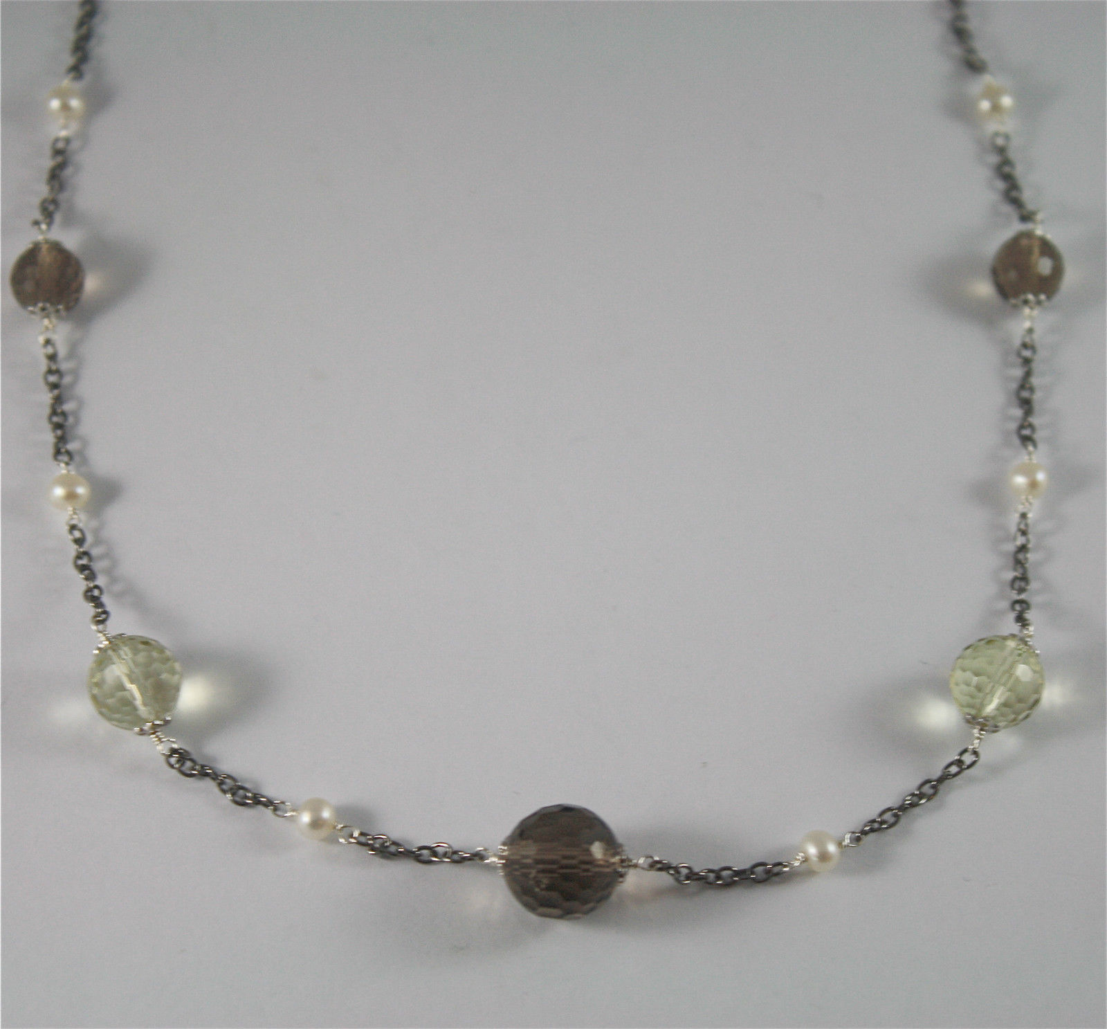 .925 BURNISHED SILVER NECKLACE,  WHITE PEARLS, SMOKY AND LEMON QUARTZ 17.72 INCH