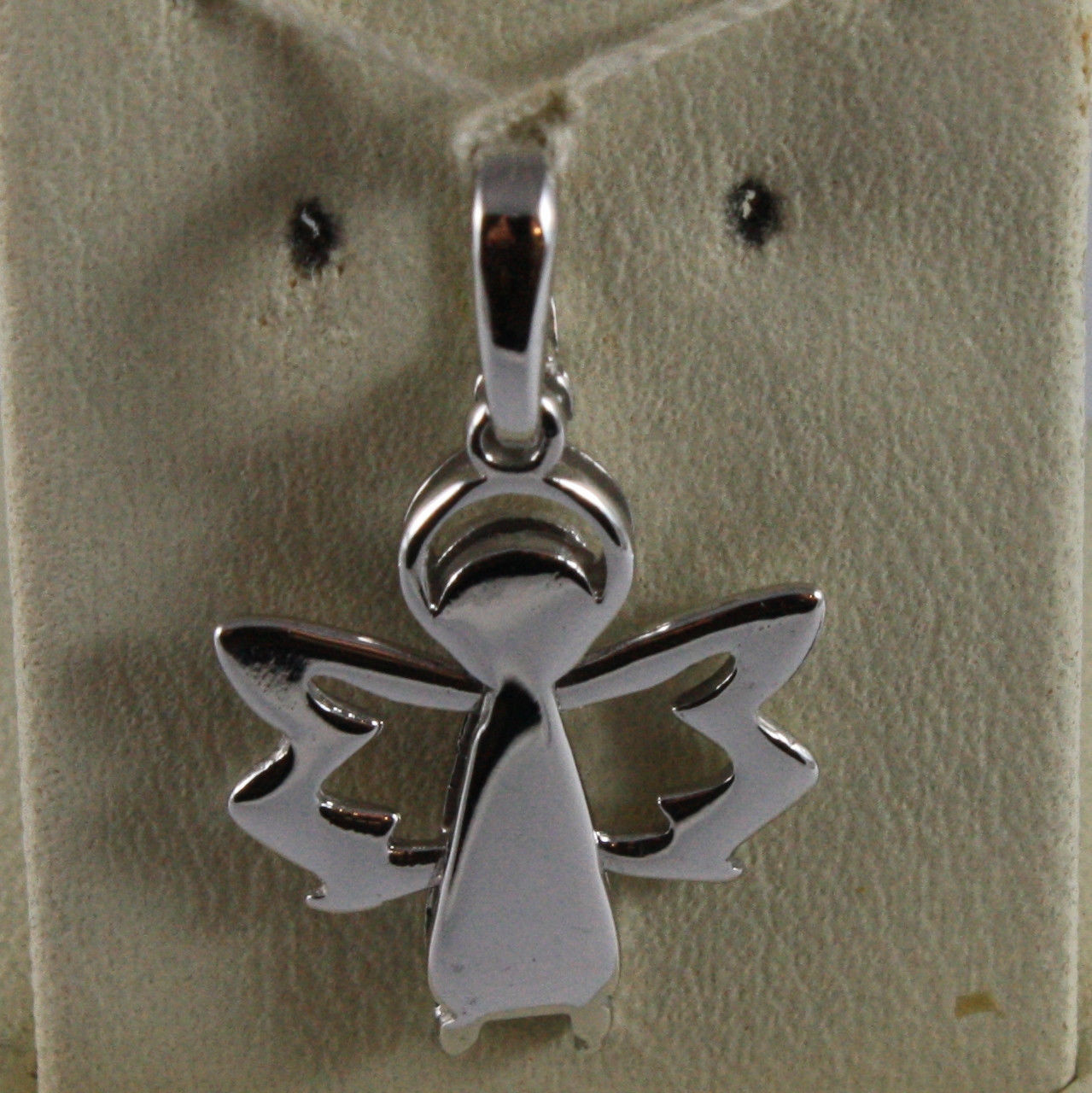 SOLID 18K WHITE GOLD PENDANT GUARDIAN ANGEL STYLIZED LENGTH 0,91 IN