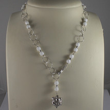 .925 SILVER RHODIUM NECKLACE WITH WHITE AGATE AND SILVER SPHERE image 1