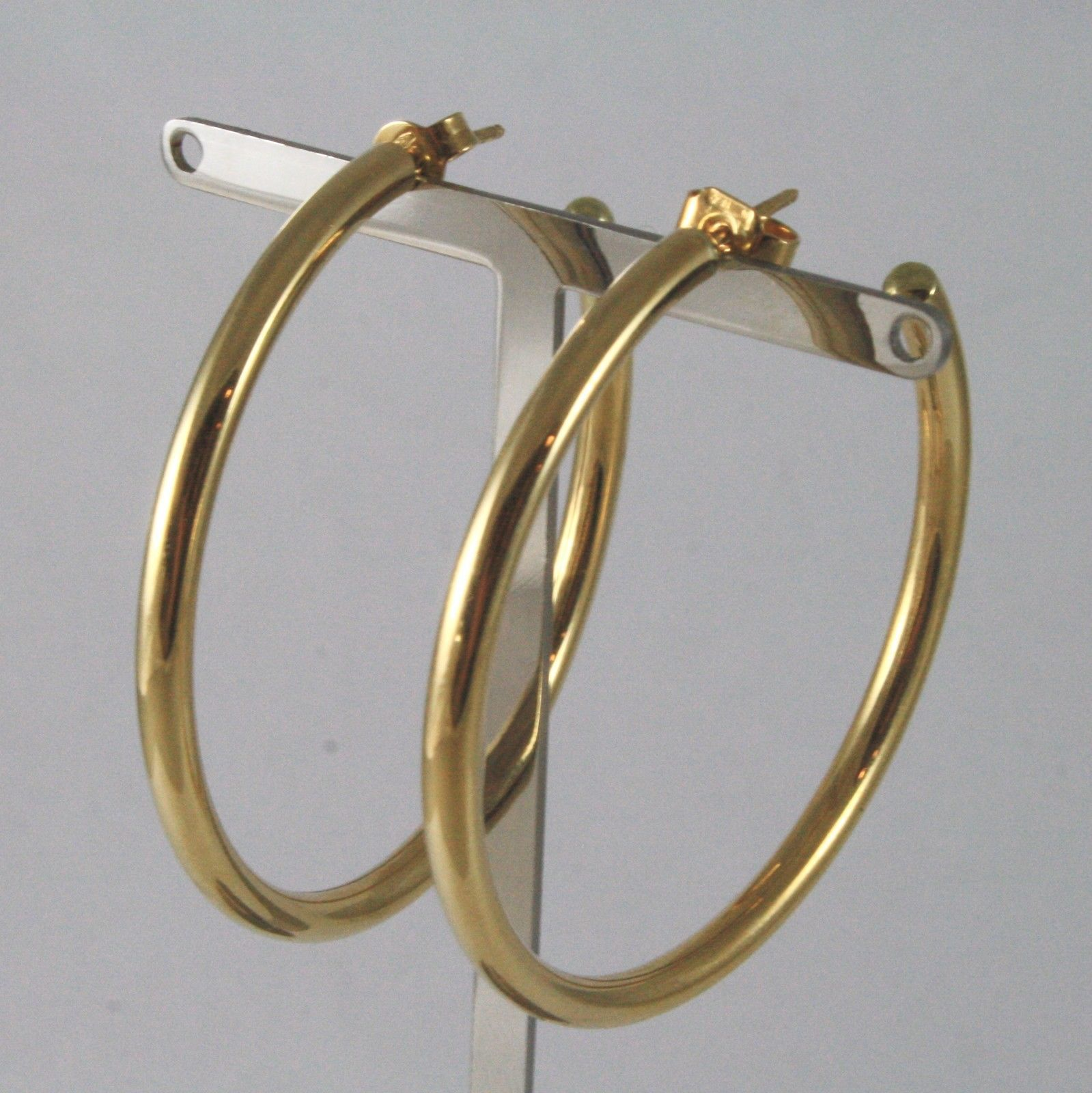 18K SOLID YELLOW GOLD CIRCLE EARRINGS DIAMETER 1,65 IN MADE IN ITALY 18K