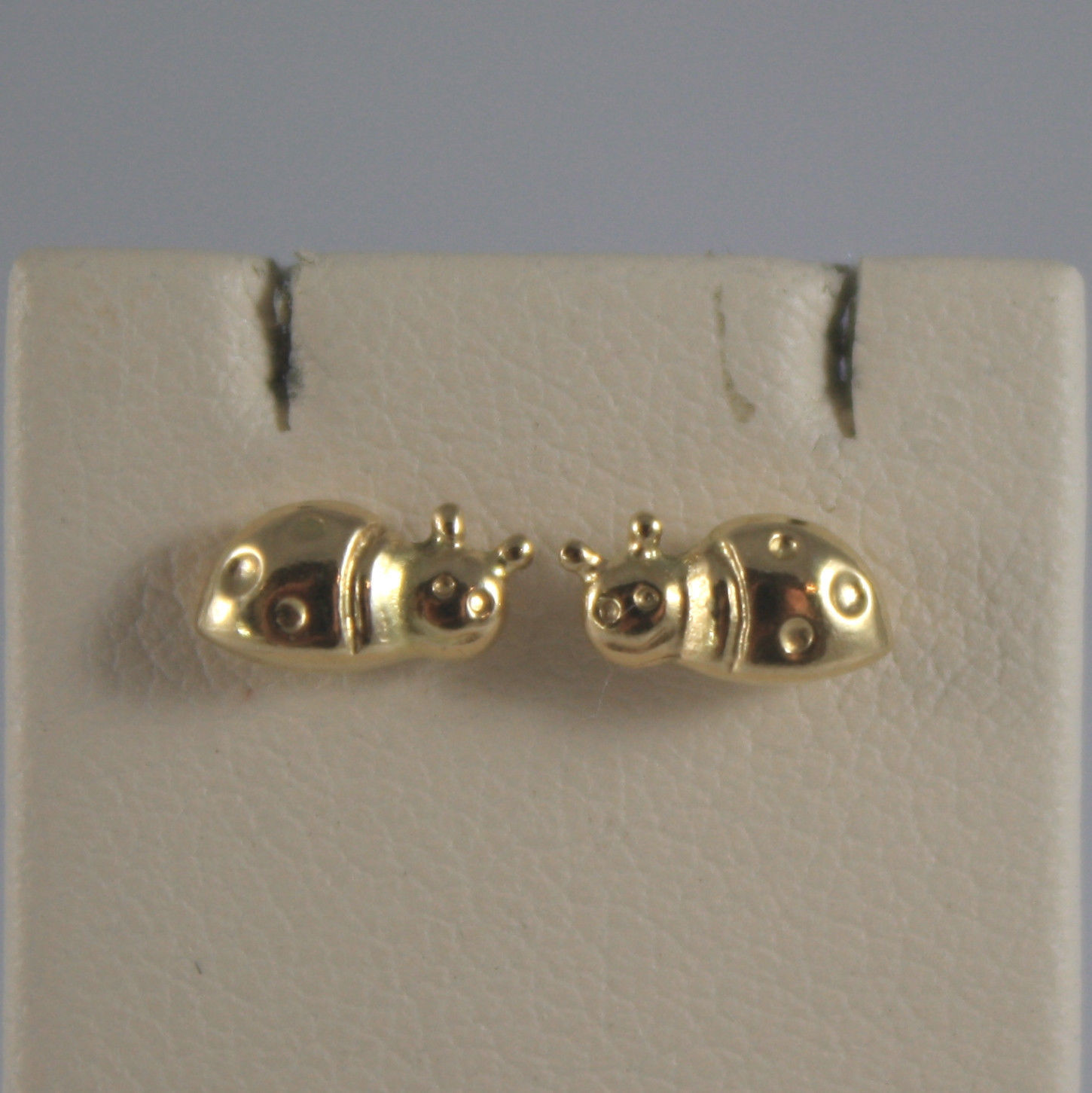 SOLID 18K YELLOW GOLD EARRINGS, WITH LADYBIRD, WIDTH 0,2 IN, MADE IN ITALY