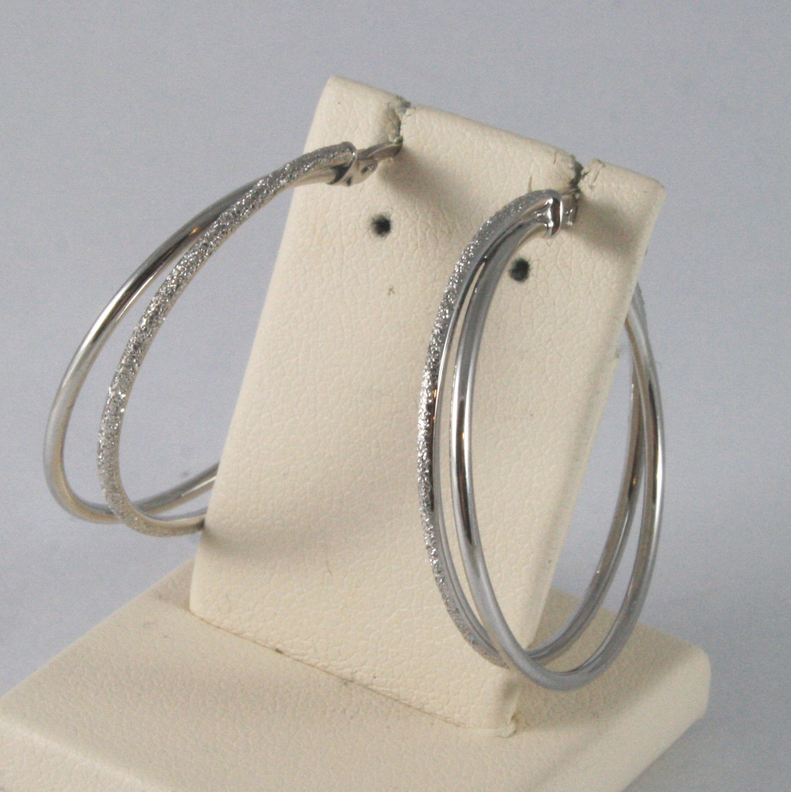 SOLID 18K WHITE GOLD DOUBLE CIRCLE EARRINGS SHINY AND SATIN MADE IN ITALY 18K