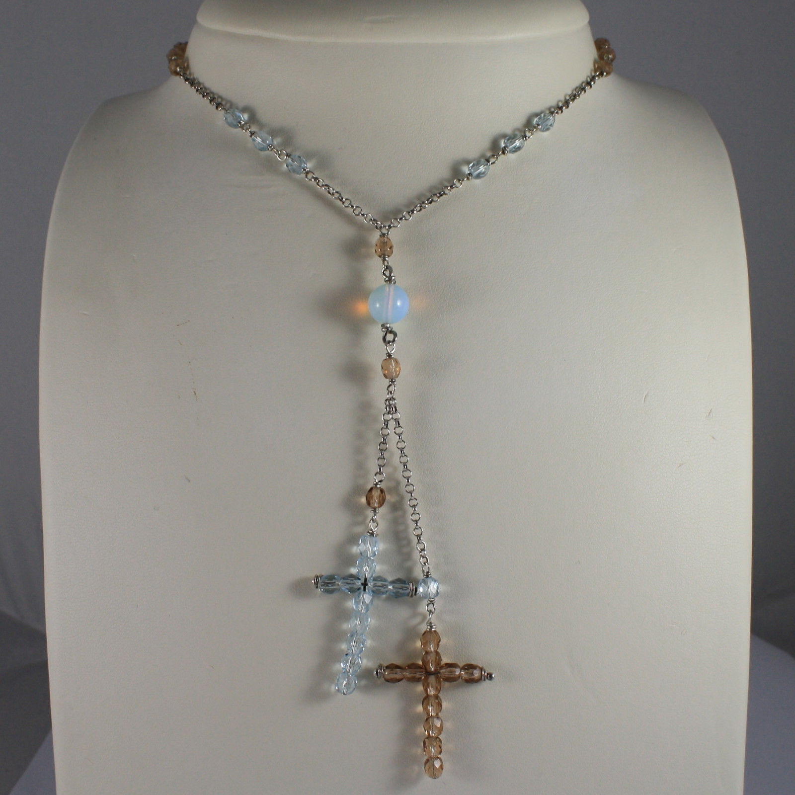 .925 SILVER RHODIUM NECKLACE WITH BLUE AND BROWN CRYSTALS AND BLUE OPAL