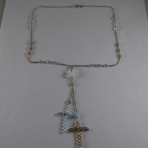 .925 SILVER RHODIUM NECKLACE WITH BLUE AND BROWN CRYSTALS AND BLUE OPAL image 2