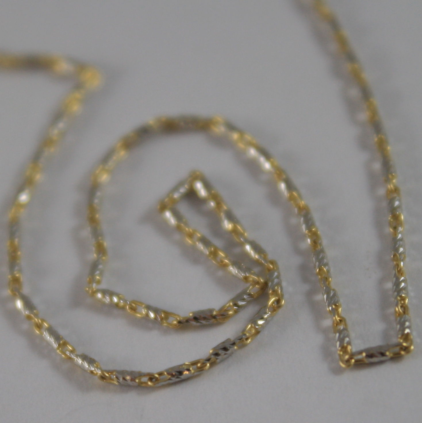 18K YELLOW WHITE GOLD CHAIN, WORKED TUBE 1.3 MM MESH 15.75 IN. MADE IN ITALY