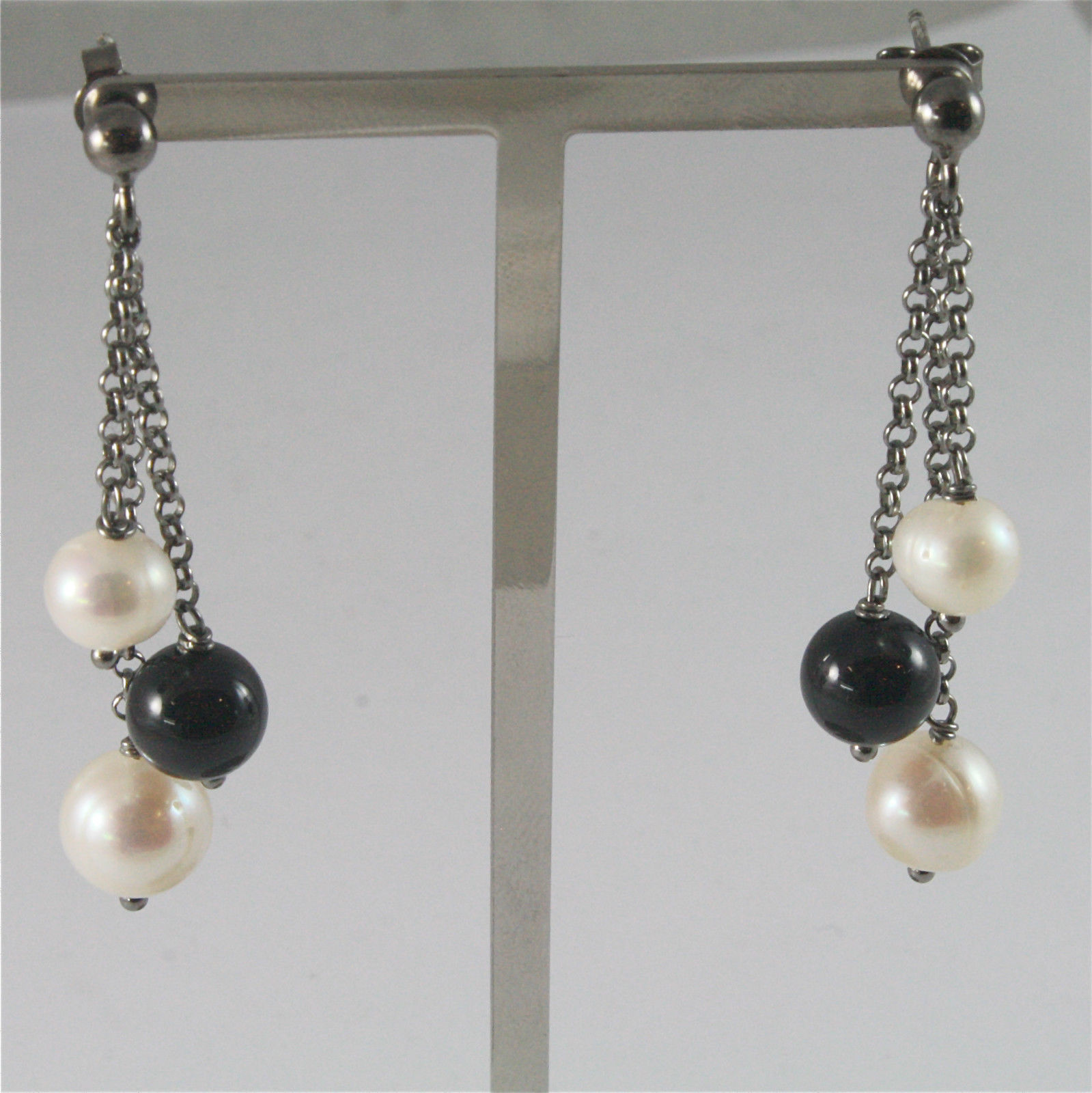 .925 BURNISHED SILVER EARRINGS WITH WHITE FW PEARLS AND BLACK ONYX 1.97 INCH