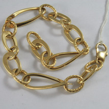 SOLID 18K YELLOW GOLD BRACELET WITH FINELY WORKED OVAL MESH, MADE IN ITALY