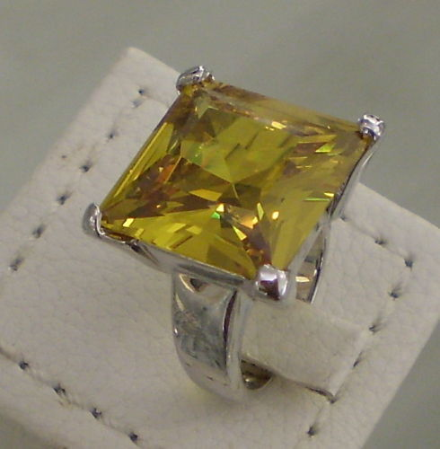 ANELLO IN ARGENTO 925 CRISTALLO GIALLO TAG. PRINCESS