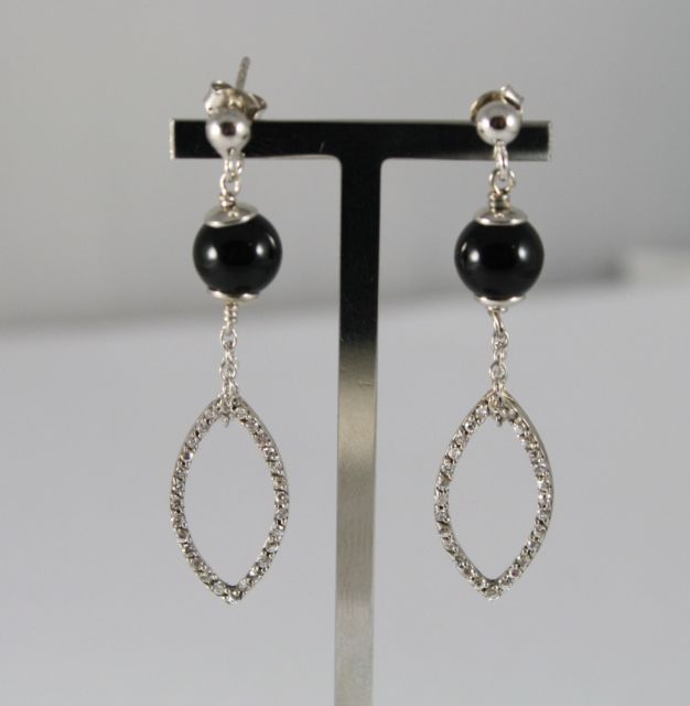 Earrings Silver 925 Pendants with Black Onyx and Oval Transparent Crystals